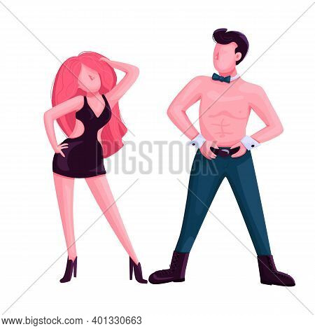 Male And Female Strip Dancer Flat Color Vector Faceless Character. Attractive Man And Woman Dance Pe