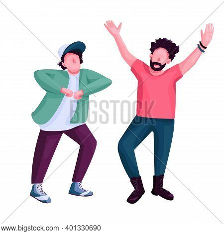 Men Dancing Flat Color Vector Faceless Character. Stylish Friends At Nightclub Disco Party. Modern D