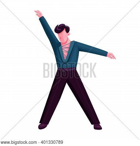 Ballroom Male Dancer Flat Color Vector Faceless Character. Latino Dance Solo Performer. Stylish Man