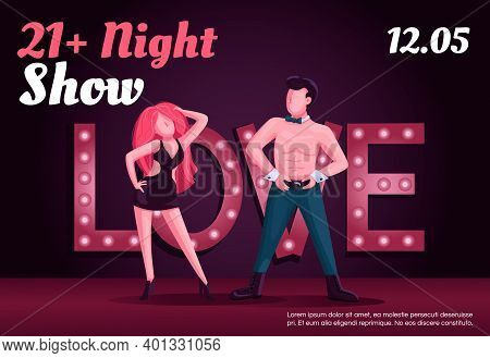 Adult Night Show Banner Flat Vector Template. Brochure, Poster Concept Design With Cartoon Character
