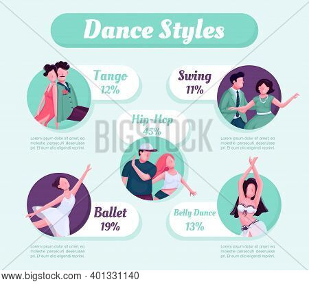 Dance Style Flat Color Vector Informational Infographic Template. Poster, Booklet, Ppt Page Concept
