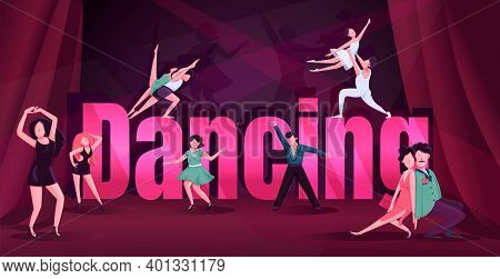 Dance Word Concepts Flat Color Vector Banner. Contemp, Rumba Competition. Typography With Tiny Carto