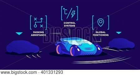 Driverless Car Functions Flat Color Vector Illustration. Smart Control System, Parking Assistance An