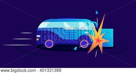 Car Wreck Flat Color Vector Illustration. Automobile Smashing Against Wall On Blue Background. Van H