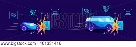 Driverless Cars Crash Test Flat Color Vector Illustrations. Self Driving Automobiles Hitting Obstacl