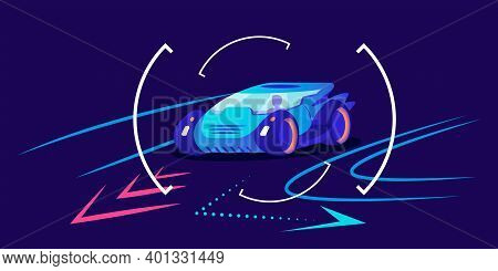 Automobile Navigation Flat Color Vector Illustration. Smart Driver Assistance, Car Movement Predicti