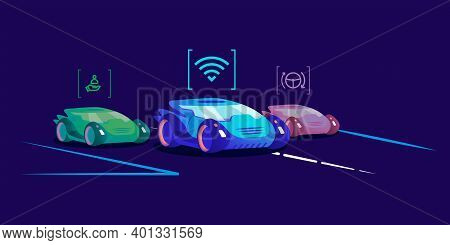 Driverless Cars Flat Color Vector Illustration. Futuristic Self Driving Vehicles With Different Auto