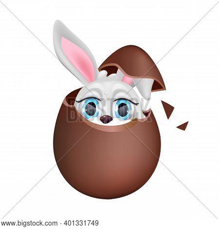 Cute Bunny Sitting In Chocolate Egg Kawaii Cartoon Character. Easter Holiday Symbol. Adorable And Fu