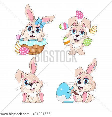 Cute Playful Easter Bunnies Kawaii Cartoon Vector Characters Set. Pascha Holiday Greeting Card Desig