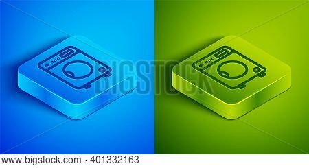 Isometric Line Washer Icon Isolated On Blue And Green Background. Washing Machine Icon. Clothes Wash