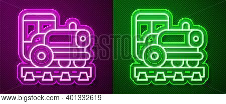 Glowing Neon Line Vintage Locomotive Icon Isolated On Purple And Green Background. Steam Locomotive.