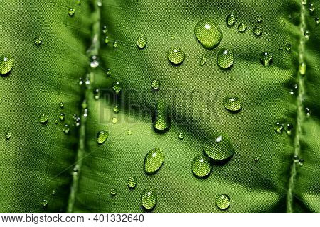 Waterproof Fabric - Closeup Of Water Resistant Textile With Water Drops