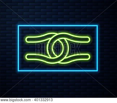 Glowing Neon Line Rope Tied In A Knot Icon Isolated On Brick Wall Background. Vector