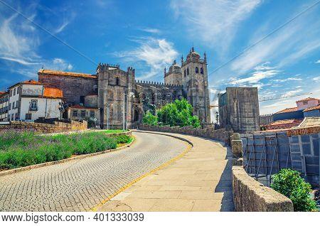 Porto Cathedral Roman Catholic Church Or Se Do Porto And Cobblestone Road In Porto Oporto City Histo