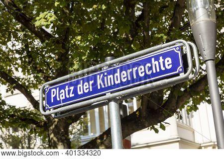 Streetsign Platz Der Kinderrechte - Place Of Childrens Rights - In Wiesbaden, Germany