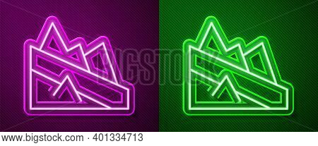Glowing Neon Line Mountain Descent Icon Isolated On Purple And Green Background. Symbol Of Victory O