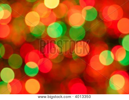Christmas Lights Background. Defocused Image Of