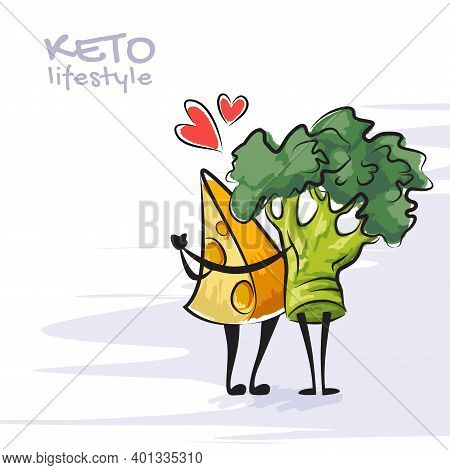 Color Vector Illustration Of Keto Lifestyle. Funny Dancing Cheese And Broccoli Characters. Cute Cart