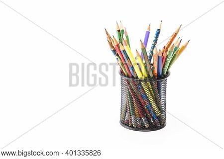 Arts And Craft Ideas. Variety Of Colored Wooden Pencils Placed Together In Metal Round Holder. Isola