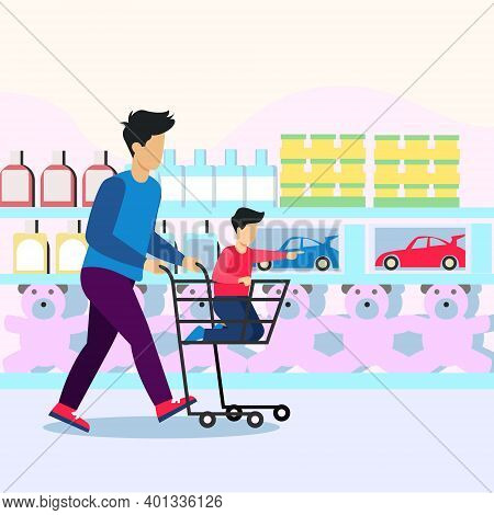 Shopping With Children  Illustration Vector, Shopping In Supper Shop With Children