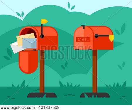 Opened And Closed Mailbox Illustration. Red Container With Long Leg Overflowing With Letters And Emp