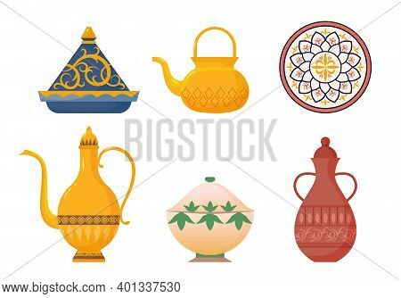 Arabic Oriental Dishes Set. Antique Yellow Teapots With Ornate Muslim Designs Red Water Jug With Orn