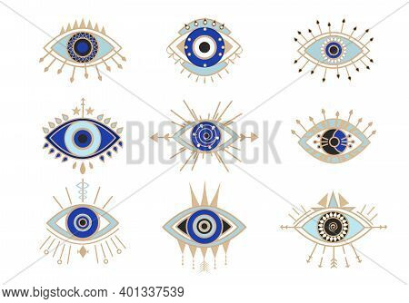 Occult Eyes Symbols Set. Esoteric Signs With Circle And Arrows Mystical Amulets With Geometric Figur