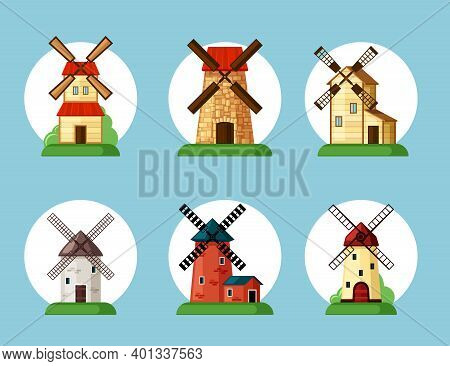 Windmills Set. Old Buildings For Grinding Flour In Cartoon Style Traditional Farming Equipment Baker