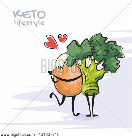 Color Vector Illustration Of Keto Lifestyle. Funny Dancing Egg And Broccoli Character. Cute Cartoon