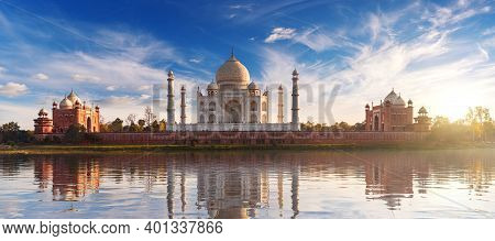 Taj Mahal At Sunset And Its Reflection, Place Of Visit In India, View From Mehtab Bagh, Agra, Uttar