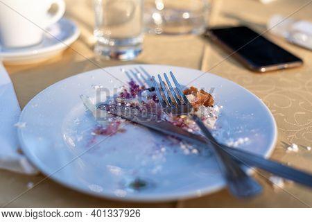 Plate With Eaten Food. Healthy Food. Finished Food. Plate Of Eaten Breakfast Food. Hotel Food. Vegan