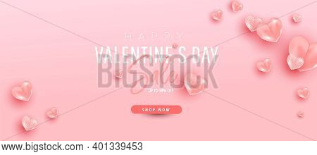 Minimal Pink Air Heart Ballons Fly In The Air With Discount Text On Pink Background. Valentine Day V