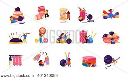 Set Of Isolated Knitting Flat Recolor Icons With Images Of Clews Needles Knitwear And Human Characte