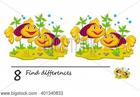 Find 8 Differences. Logic Puzzle Game For Children And Adults. Brain Teaser Book For Kids. Illustrat