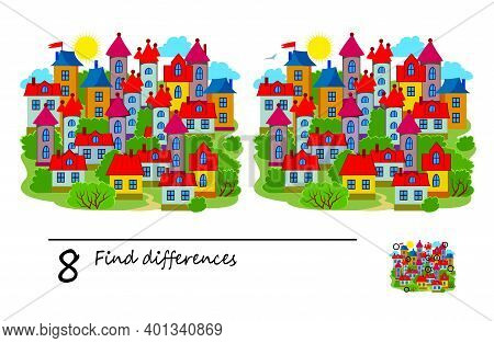 Find 8 Differences. Illustration Of A Town And Houses. Logic Puzzle Game For Children And Adults. Br