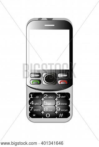 Black Slide Phone Vector Clipart Having Numeric Keypad. Isolated 2g Phone On White Background.