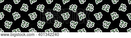 Punk Rock On Text Vector Seamless Border. Simple Alternative Banner. Kids Emo Rocker Cute Hand Drawn