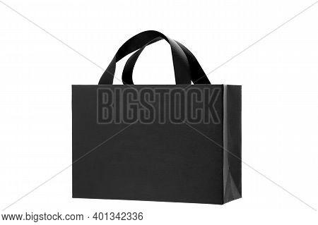 Black Paper Bag From Designer Paper With Ribbon Handles, Cardboard Gift Label Bag Mock Up Branding F
