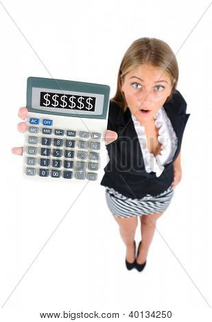 Isolated young business woman showing calculator