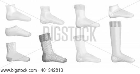 Different Types Of Sock With Low Cut Mid Calf Over Calf And Knee Socks Isolated Layouts Realistic Ve
