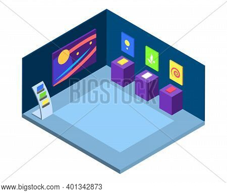 Modern Art Gallery Isometric Vector Illustration. Artistic Exhibition, Exposition Place Interior 3d