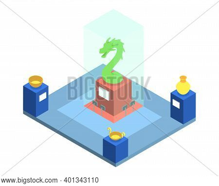 Historical Museum Exposition Isometric Vector Illustration. Cultural Heritage Exhibition, Showroom W
