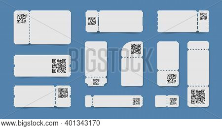 Set Of Isolated Realistic Empty Ticket Mockup Coupons With Qr Codes Printed On Tear Off Stubs Vector