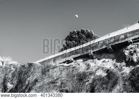 Black And White Geometric Landscape With An Upper Part Of A Cliff With Numerous Rock Climbing Ledges