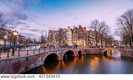 Amsterdam Netherlands During Sunset, Historical Canals During Sunset Hours. Dutch Historical Canals