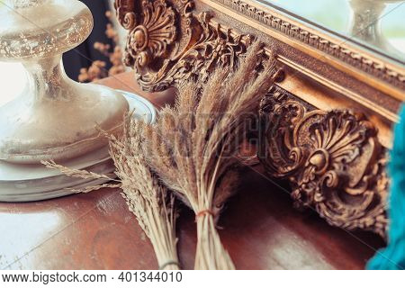 Interior Decoration, Detail Image Of The Ornate, Carved Mirror Frame In Ancient Style.