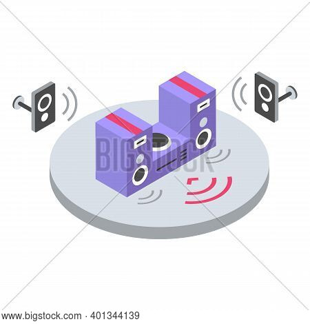 Stereo System Isometric Color Vector Illustration. Music Volume Remote Control. Loudspeakers, Home T