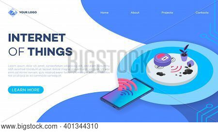 Robotic Vacuum Cleaner Remote Control Landing Page Vector Template With Isometric Illustration. Auto