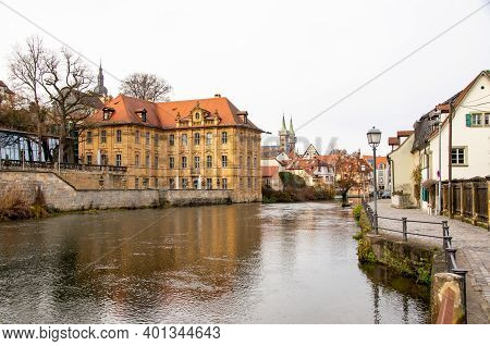 Bamberg, Germany, 20.12.2020. View Over The Pegnitz To The Famous Villa Concordia And The Historic O