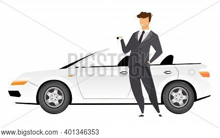 Businessman Standing By Car Flat Color Vector Faceless Character. Smiling Man Holding Keys To New Ca
